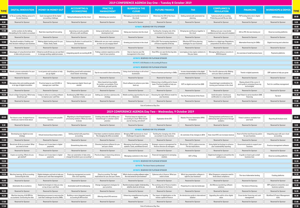 Accounting & Finance Show Asia 2019 agenda overview