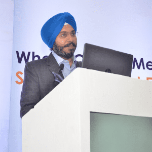 Sukhdev Singh Saini speaking at Home Delivery Asia